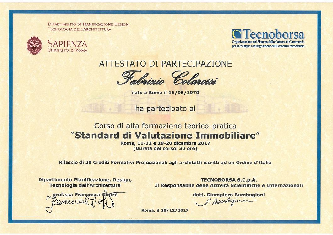 """Attestato di Partecipazione al corso """"Standard di Valutazione Immobiliare"""""""
